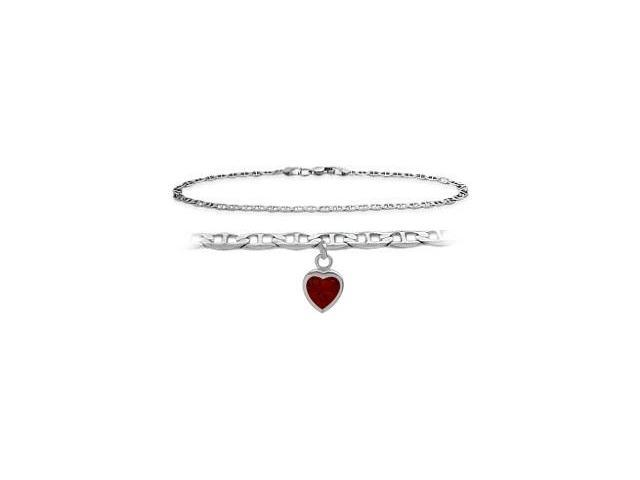 14K White Gold 10 Inch Mariner Anklet with Genuine Garnet Heart Charm