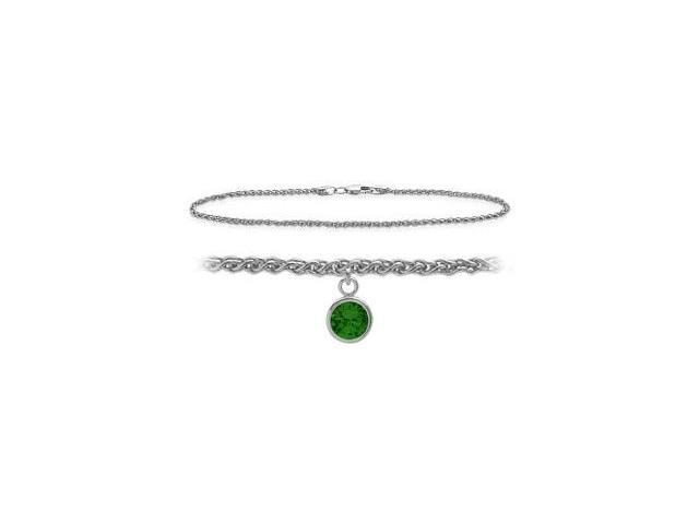 Genuine Sterling Silver 10 Inch Wheat Anklet with Created Emerald Round Charm