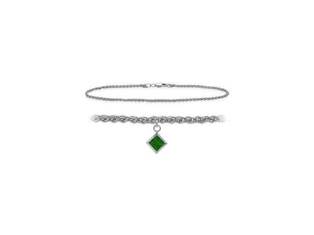 10K White Gold 10 Inch Wheat Anklet with Created Emerald Square Charm