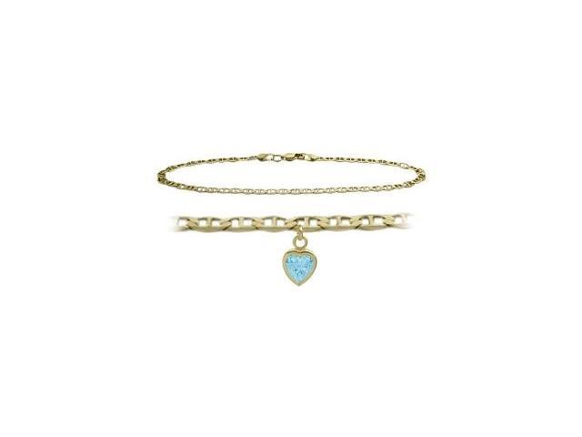 14K Yellow Gold 10 Inch Mariner Anklet with Created Aquamarine Heart Charm