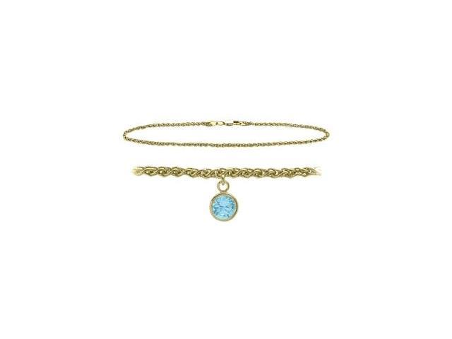 10K Yellow Gold 10 Inch Wheat Anklet with Created Aquamarine Round Charm