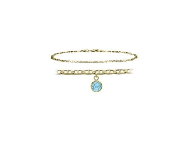 14K Yellow Gold 10 Inch Mariner Anklet with Created Aquamarine Round Charm