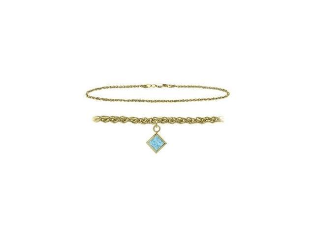 14K Yellow Gold 10 Inch Wheat Anklet with Created Aquamarine Square Charm