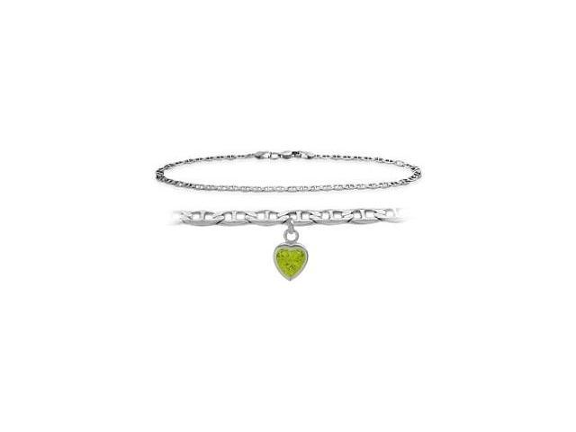 14K White Gold 10 Inch Mariner Anklet with Genuine Peridot Heart Charm