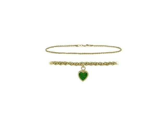 14K Yellow Gold 9 Inch Wheat Anklet with Created Emerald Heart Charm