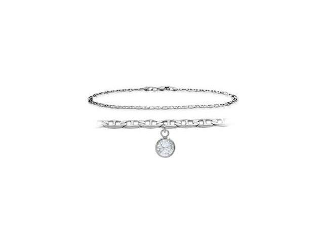 14K White Gold 10 Inch Mariner Anklet with Genuine White Topaz Round Charm