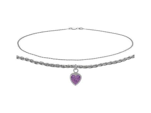 Genuine Sterling Silver 10 Inch Wheat Anklet with Genuine Amethyst Heart Charm
