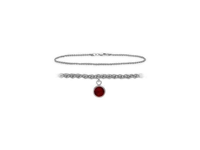 Genuine Sterling Silver 9 Inch Wheat Anklet with Genuine Garnet Round Charm