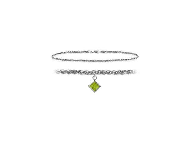 14K White Gold 10 Inch Wheat Anklet with Genuine Peridot Square Charm