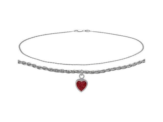 10K White Gold 10 Inch Wheat Anklet with Created Ruby Heart Charm