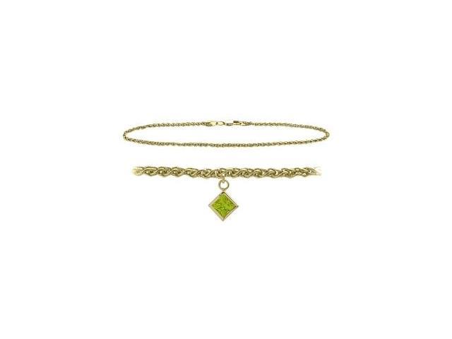 10K Yellow Gold 10 Inch Wheat Anklet with Genuine Peridot Square Charm
