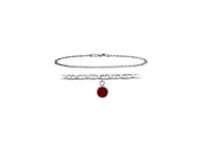 14K White Gold 10 Inch Mariner Anklet with Genuine Garnet Round Charm