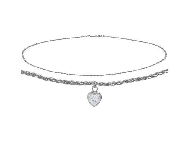 14K White Gold 9 Inch Wheat Anklet with Genuine White Topaz Heart Charm