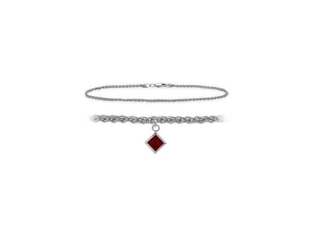 10K White Gold 10 Inch Wheat Anklet with Genuine Garnet Square Charm