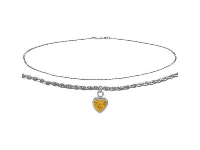 14K White Gold 10 Inch Wheat Anklet with Genuine Citrine Heart Charm