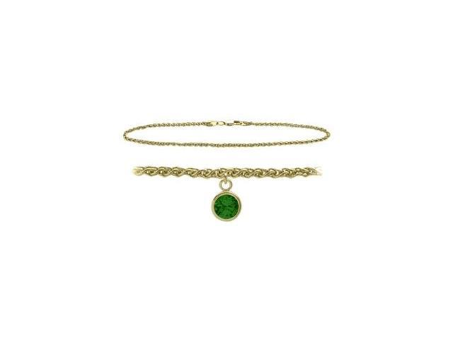 14K Yellow Gold 10 Inch Wheat Anklet with Created Emerald Round Charm