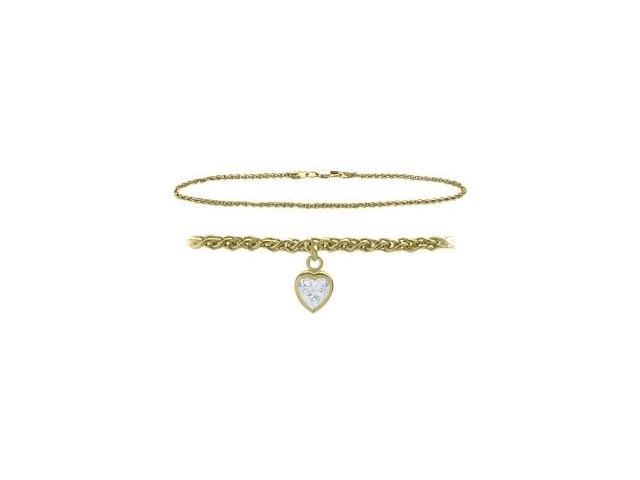 14K Yellow Gold 10 Inch Wheat Anklet with Genuine White Topaz Heart Charm
