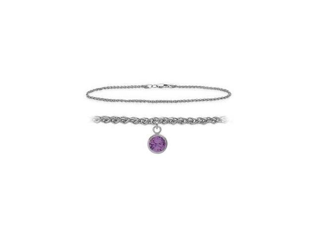 Genuine Sterling Silver 10 Inch Wheat Anklet with Genuine Amethyst Round Charm