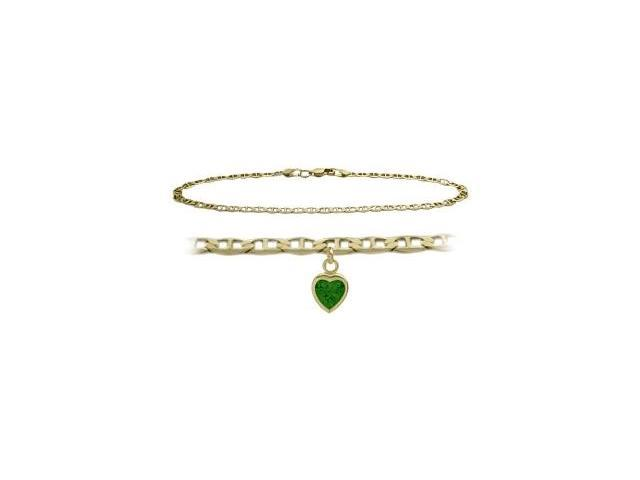 14K Yellow Gold 9 Inch Mariner Anklet with Created Emerald Heart Charm