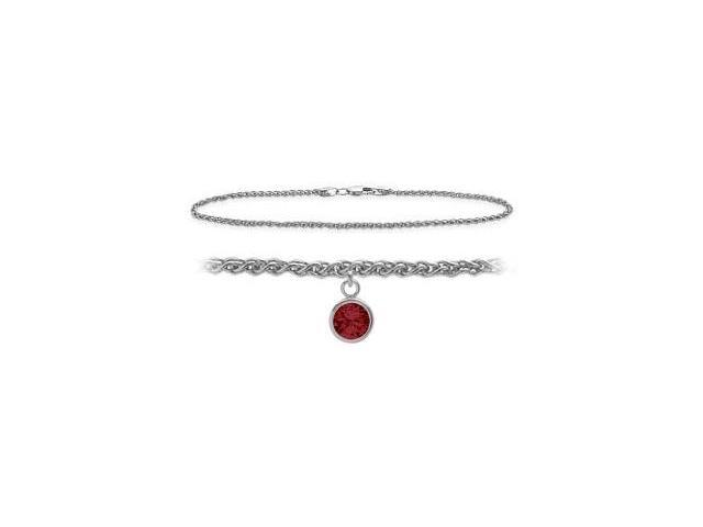 14K White Gold 9 Inch Wheat Anklet with Created Ruby Round Charm