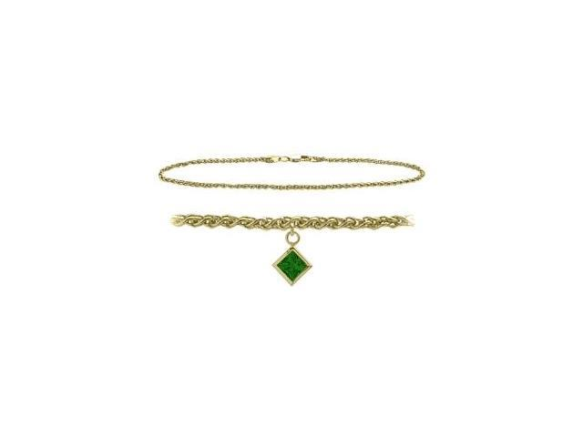 10K Yellow Gold 10 Inch Wheat Anklet with Created Emerald Square Charm