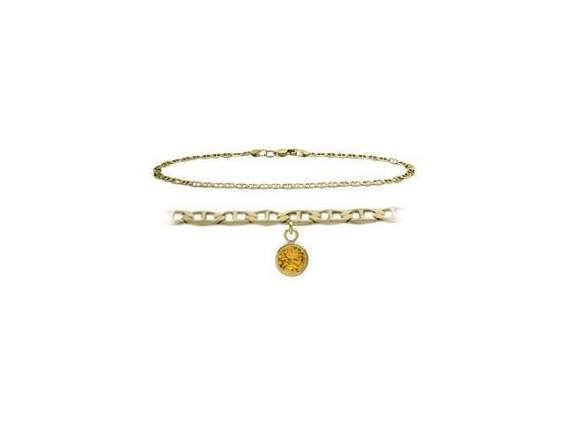 14K Yellow Gold 10 Inch Mariner Anklet with Genuine Citrine Round Charm