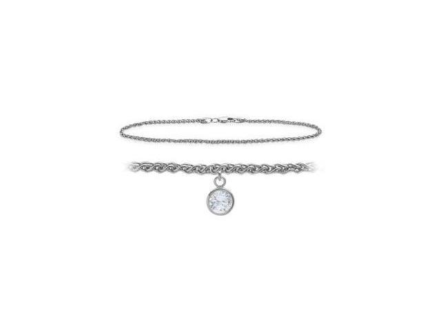 14K White Gold 10 Inch Wheat Anklet with Genuine White Topaz Round Charm
