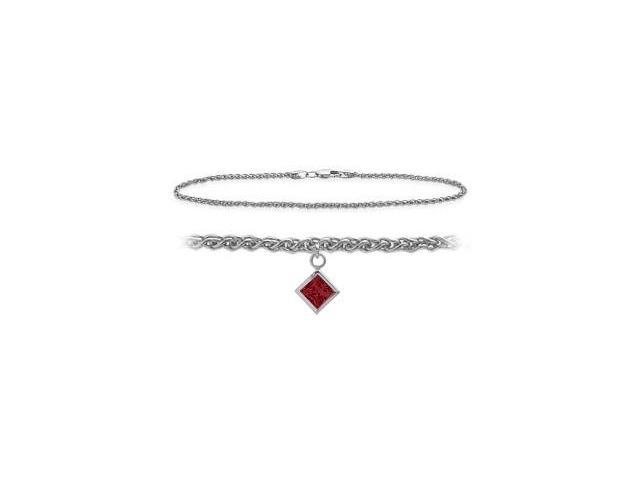 14K White Gold 10 Inch Wheat Anklet with Created Ruby Square Charm