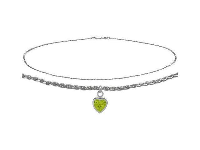 14K White Gold 9 Inch Wheat Anklet with Genuine Peridot Heart Charm