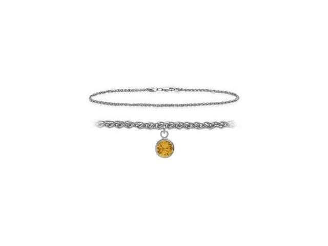 14K White Gold 9 Inch Wheat Anklet with Genuine Citrine Round Charm