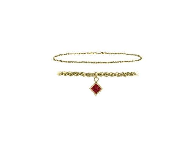 14K Yellow Gold 9 Inch Wheat Anklet with Created Ruby Square Charm