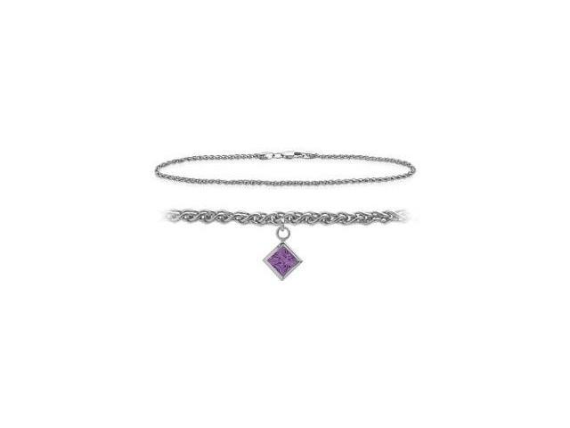 14K White Gold 10 Inch Wheat Anklet with Genuine Amethyst Square Charm