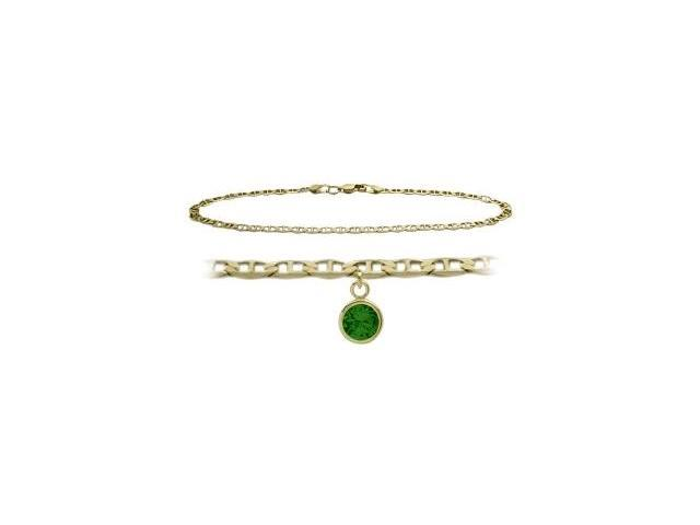 14K Yellow Gold 9 Inch Mariner Anklet with Created Emerald Round Charm