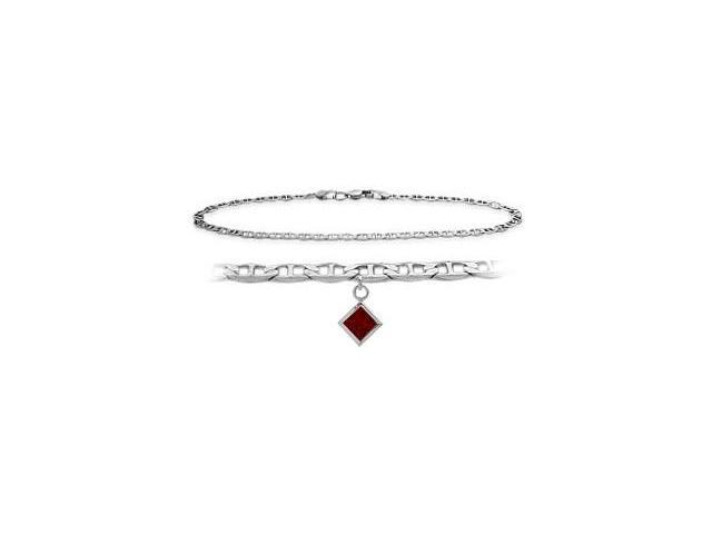 Genuine Sterling Silver 9 Inch Mariner Anklet with Genuine Garnet Square Charm