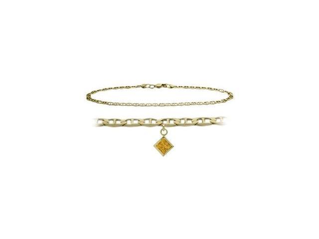 14K Yellow Gold 10 Inch Mariner Anklet with Genuine Citrine Square Charm