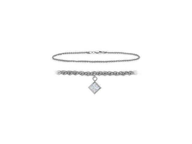 14K White Gold 10 Inch Wheat Anklet with Genuine White Topaz Square Charm