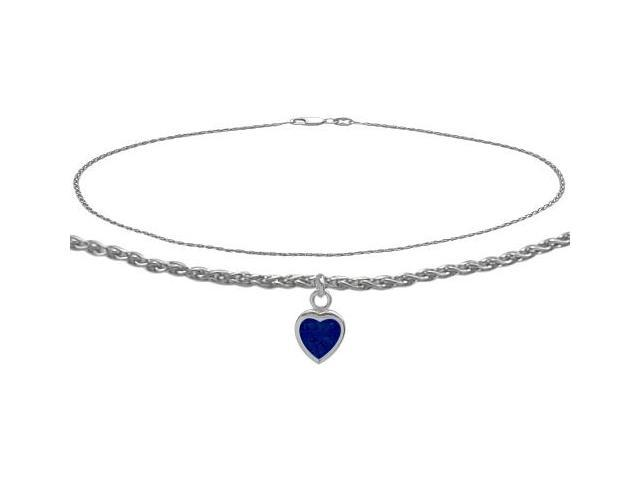 14K White Gold 10 Inch Wheat Anklet with Created Sapphire Heart Charm