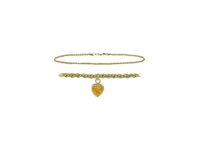 14K Yellow Gold 9 Inch Wheat Anklet with Genuine Citrine Heart Charm