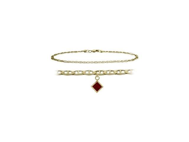 10K Yellow Gold 10 Inch Mariner Anklet with Genuine Garnet Square Charm