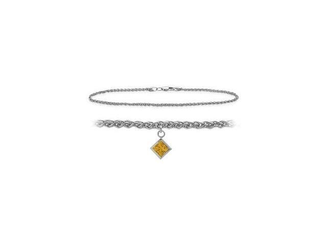 Genuine Sterling Silver 10 Inch Wheat Anklet with Genuine Citrine Square Charm
