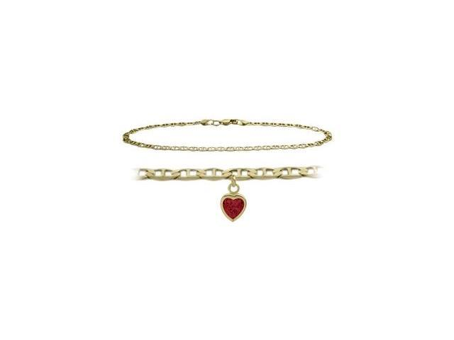 14K Yellow Gold 9 Inch Mariner Anklet with Created Ruby Heart Charm