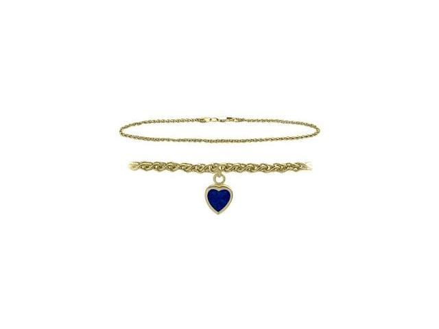 10K Yellow Gold 9 Inch Wheat Anklet with Created Sapphire Heart Charm