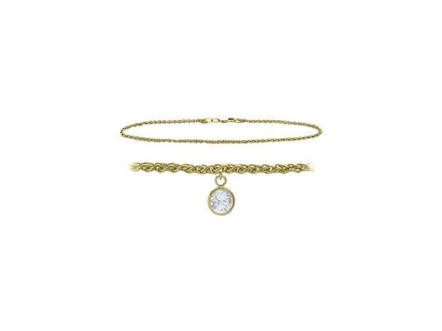 14K Yellow Gold 10 Inch Wheat Anklet with Genuine White Topaz Round Charm