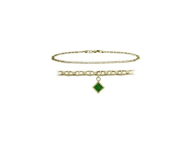 10K Yellow Gold 10 Inch Mariner Anklet with Created Emerald Square Charm