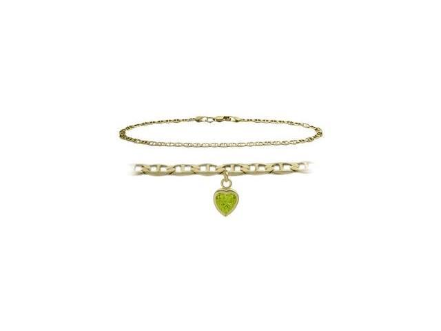 14K Yellow Gold 10 Inch Mariner Anklet with Genuine Peridot Heart Charm