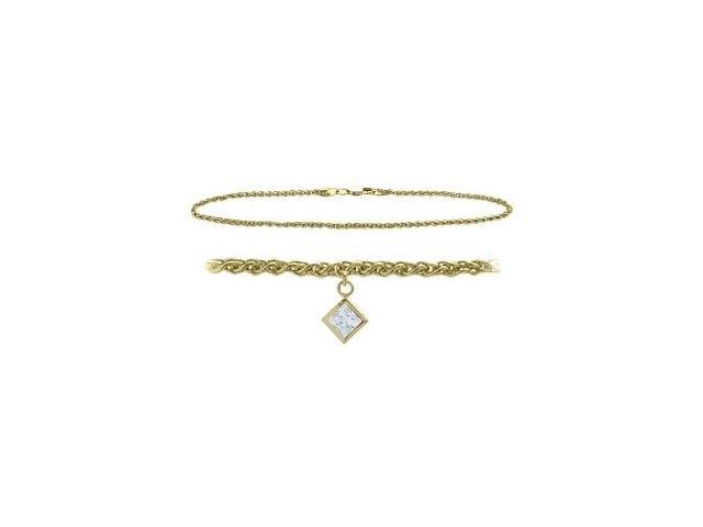 14K Yellow Gold 9 Inch Wheat Anklet with Genuine White Topaz Square Charm