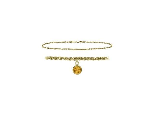 14K Yellow Gold 10 Inch Wheat Anklet with Genuine Citrine Round Charm
