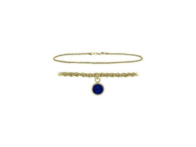 14K Yellow Gold 10 Inch Wheat Anklet with Created Sapphire Round Charm