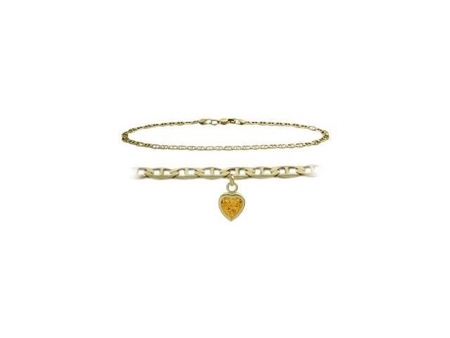 14K Yellow Gold 9 Inch Mariner Anklet with Genuine Citrine Heart Charm