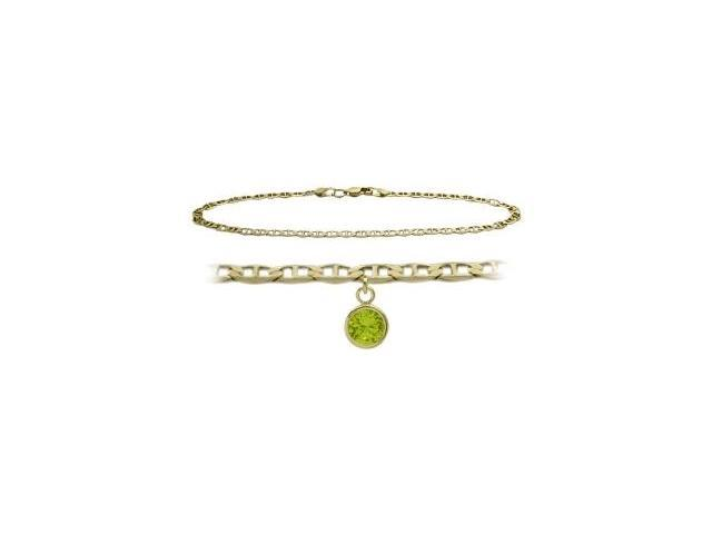 14K Yellow Gold 10 Inch Mariner Anklet with Genuine Peridot Round Charm